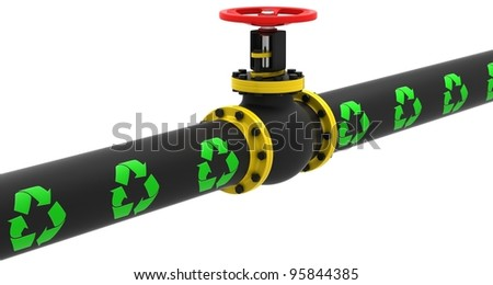 Valve for environmentally safe oil pumping on a white background. - stock photo