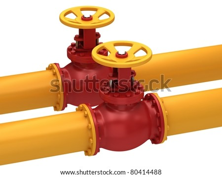 Valve for pumping oil  isolated on a white background. - stock photo