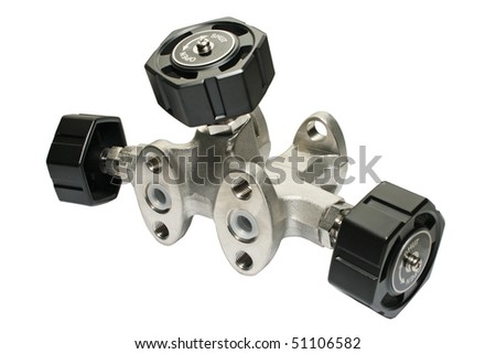 Valve unit for measuring devices. Close-up. Isolated on a white background. - stock photo