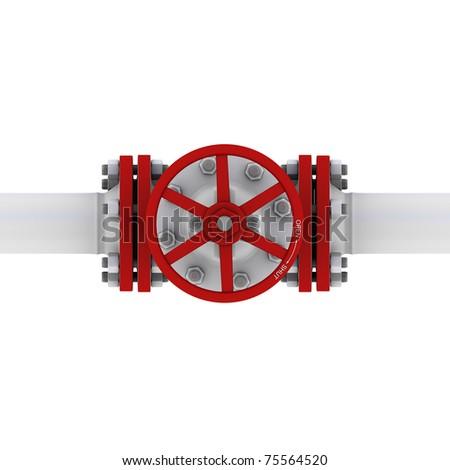 valve with handwheel top view - stock photo