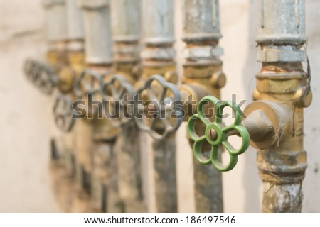 valves and plumbing tubes - stock photo