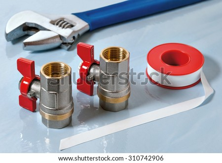 Valves for hot water and PTFE gasket - stock photo