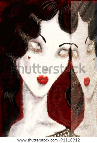 Vampire black haired woman reflecting in a mirror with blind eyes artwork