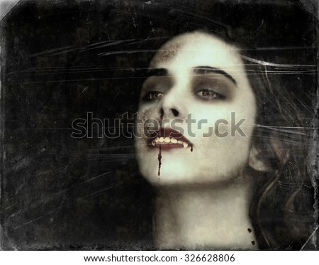 Vampire of young woman with bloody mouth. vintage, grunge Photo manipulation. - stock photo