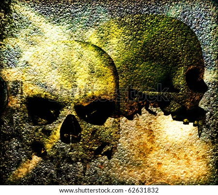 Vampire skull background illustration. Front view and side view of vampire skull and gothic textures background. Original illustration - stock photo