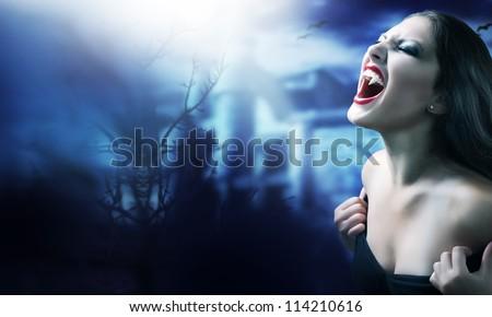 Vampire Woman. Halloween Art Design - stock photo
