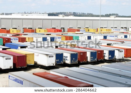 VANCE, AL-MAY, 2015:  Trailer yard at a trucking terminal with hundreds of loads to be unloaded. - stock photo