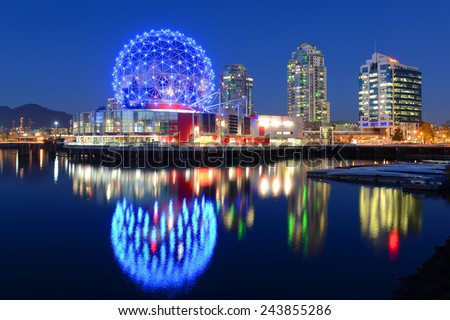 Vancouver at night, Vancouver, British Columbia, Canada.  - stock photo