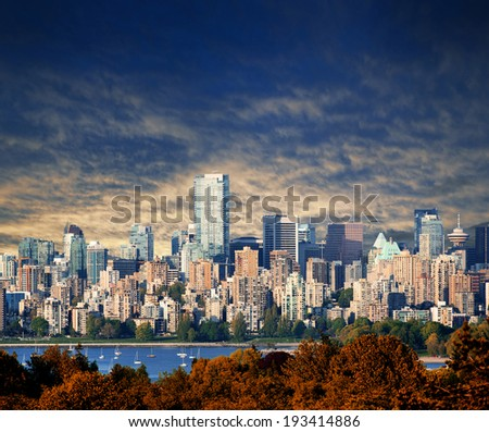 Vancouver B.C. at sunset, photographed in 2014 - stock photo