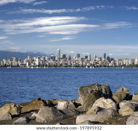 Vancouver B.C. (June 2014) - panoramic view with English Bay - stock photo