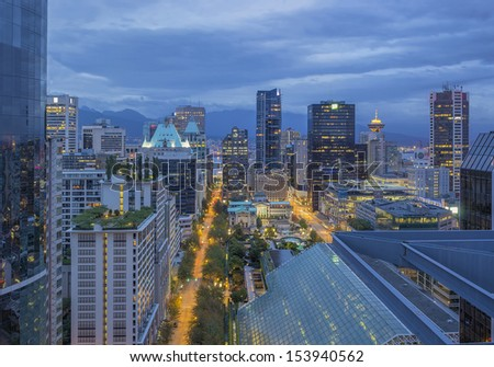 Vancouver BC Canada City Downtown at Early Morning Dawn Blue Hour - stock photo