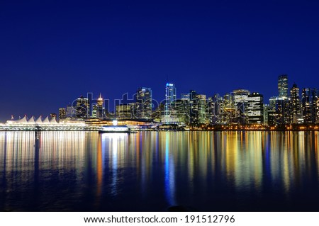 Vancouver BC Canada City Skyline Reflection at Blue Hour  - stock photo