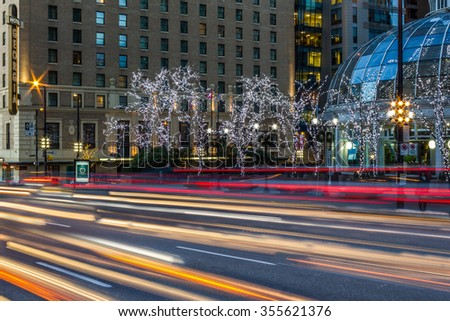 Vancouver, BC, Canada - December 25, 2015. Downtown, Christmas decoration and illumination.