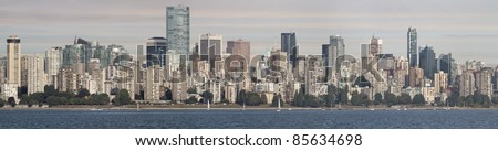 Vancouver BC Canada Downtown Skyline by English Bay Panorama - stock photo