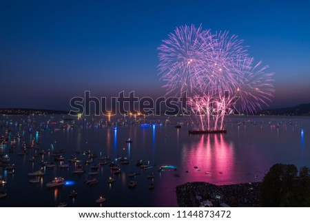 Vancouver BC Canada,July 28,2018.Honda celebration of light,South Africa night fireworks at English bay beach