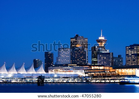 Vancouver BC evening skyline from Stanley Park