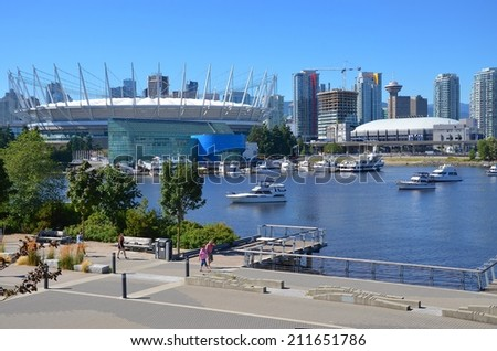 VANCOUVER, CA- JULY 28: Downtown Vancouver Waterfront, and Lifestyle on July 28, 2014 in Vancouver, CA Vancouver has prominent buildings in a variety of styles by many famous architects.