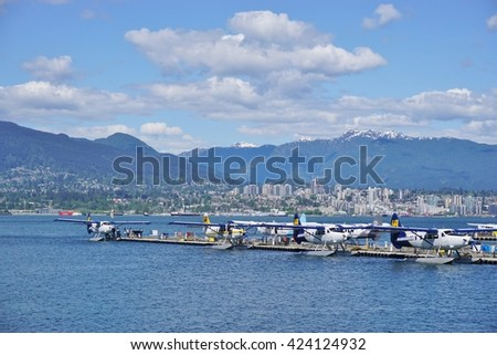 VANCOUVER, CA -7 MAY 2016- Hydroplanes land and take off in the Vancouver Harbour. Vancouver is the largest city in the province of British Columbia on the West coast of Canada.