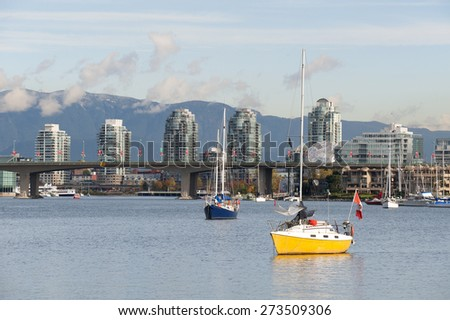 Vancouver, Cambie Bridge and false Creek, British Columbia, Canada - stock photo