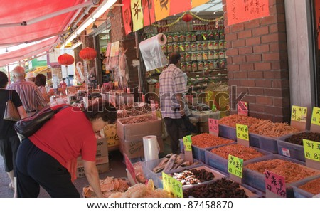 VANCOUVER, CANADA - AUGUST 06: Traditional Chinese Medicine Store opened in Chinatown of Vancouver, Canada on August 06, 2005. Ingredients include dried fish, shrimps, shellfish and cuttlefish. - stock photo