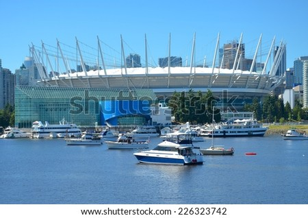 VANCOUVER, CANADA - JULY 27: BC Place Stadium on July 27 , 2014 in Vancouver, Canada. It is the home stadium of BC Lions, Vancouver Whitecaps FC, and Major League Soccer( MLS). - stock photo