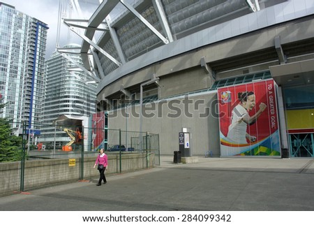 VANCOUVER, CANADA, JUNE 3, 2015: Banners are installed at BC Place Stadium ahead of FIFA Women's World Cup Canada 2015 in Vancouver, Canada, June 3, 2015. - stock photo