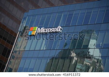 VANCOUVER, CANADA - MAY 7, 2016: Microsoft sign adorns new office building housing computer giant's office in Vancouver, Canada, May 7, 2016. - stock photo