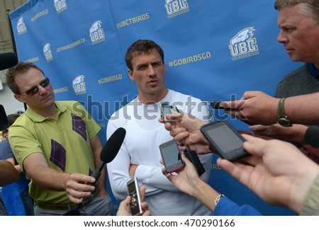 VANCOUVER, CANADA - MAY 22, 2013: The 11-time Olympic medalist Ryan Lochte of the US talks to media during meet and greet public event at University of BC in Vancouver, Canada, May 22, 2013.