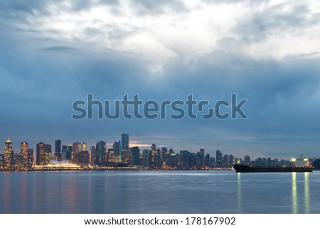 Vancouver, Canada's skyline at dusk - stock photo
