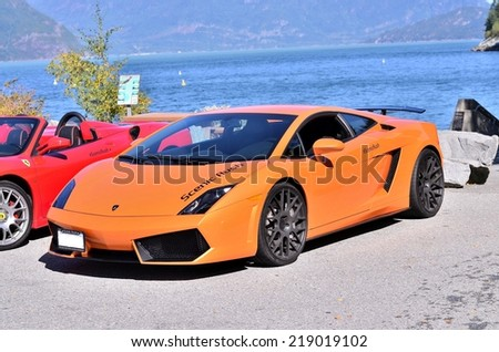 VANCOUVER, CANADA - SEPTEMBER 20: Exotic super car Lamborghini Gallardo from the club scenic rush in Vancouver on September 20, 2014. - stock photo