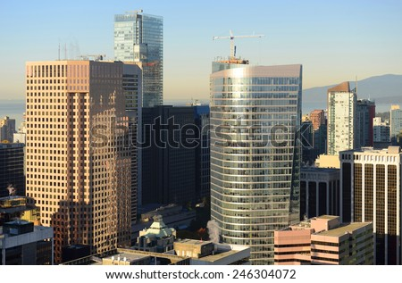 Vancouver city financial district, photo taken from the Harbour Centre tower, Vancouver, British Columbia, Canada. - stock photo