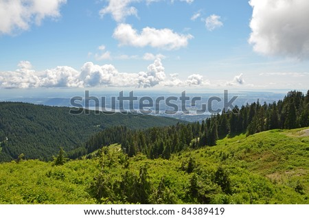 Vancouver city view from Grouse Mountain - stock photo