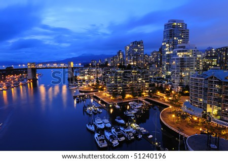 Vancouver cityscape at night - stock photo