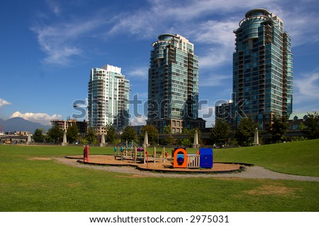 Vancouver condo's with playground in the foreground - stock photo