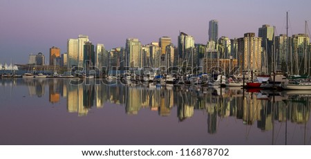 Vancouver downtown evening, Canada BC - stock photo