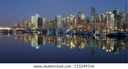 Vancouver downtown night, Canada BC - stock photo