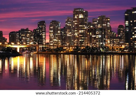 Vancouver downtown skyline during a purple sunset
