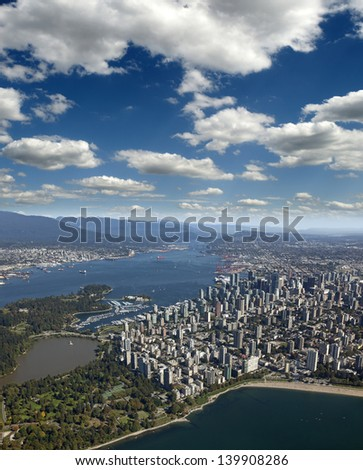 Vancouver Downtown, Stanley Park, West End beaches,  Burrard Inlet, Burnaby and Coast Mountains - British Columbia, Canada - stock photo