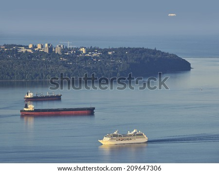 Vancouver - English Bay and Point Grey, British Columbia, Canada - stock photo