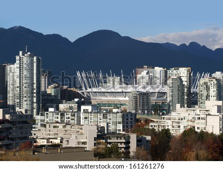 Vancouver, False Creek and BC Place Stadium, British Columbia, Canada - stock photo