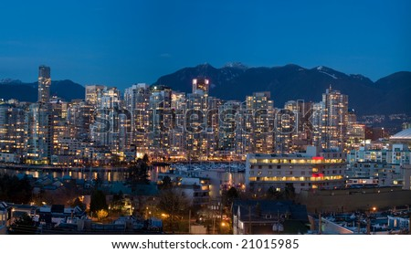 Vancouver False Creek Twilight Skyline - stock photo