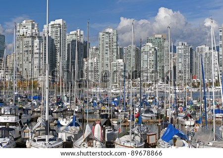 Vancouver - False Creek, Yaletown, Pacific Ave. and downtown buildings