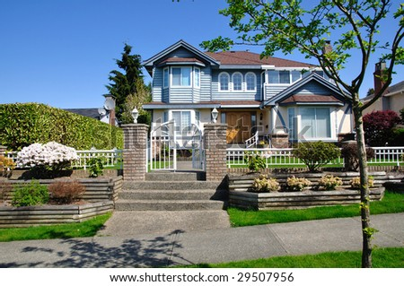 Vancouver house in spring - stock photo