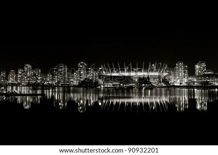Vancouver Night Skyline - stock photo