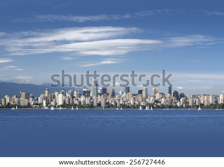 Vancouver,  panoramic view with English Bay , British Columbia, Canada- as the background or texture - stock photo