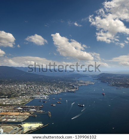 """Vancouver - port (legally """"Vancouver Fraser Port Authority"""") Metro Vancouver, Burrard Inlet, British Columbia, Canada  - stock photo"""