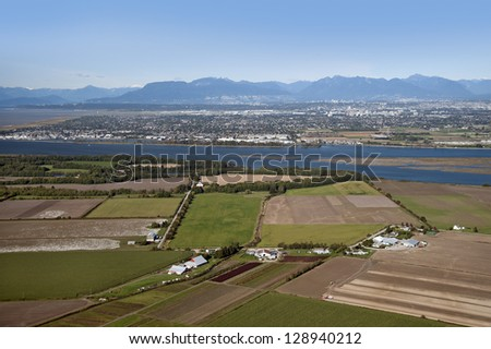 Vancouver, Richmond, Westham Island, airport, farms and fields, British Columbia, Canada - stock photo