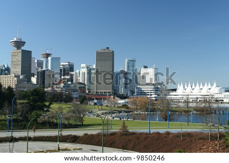 Vancouver's downtown core as seen from the east