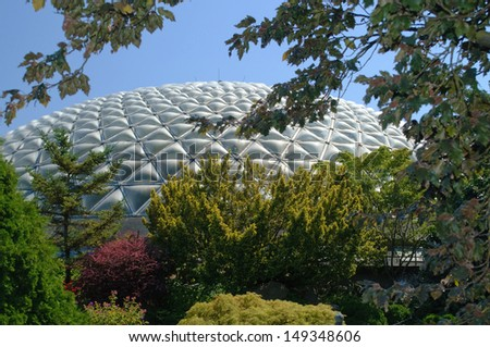 VANCOUVER - SEPTEMBER 20: Vancouver Parks Board saves the Bloedel Conservatory by partnering with Van Dusen Botanical Gardens, in Vancouver. Photo from July 30, 2013. - stock photo