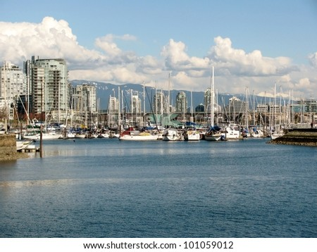 Vancouver Skyline and Marina along False Creek, Canada - stock photo